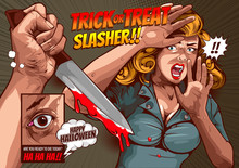 Happy Halloween Cover Template  Background, Horror Comic, Picture Hand Holding A Knife And Woman In Very Shocked Fear,  And Speech Bubbles, Doodle Art, Vector Illustration.