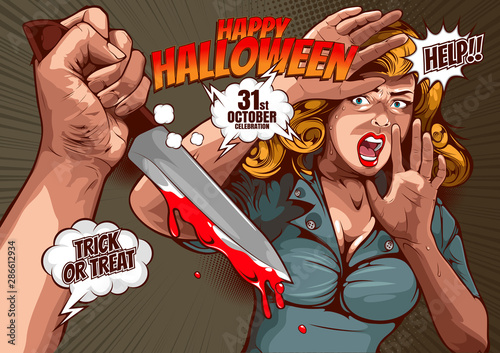 Fotografie, Obraz  happy halloween cover template  background, horror comic, picture hand holding a knife and woman in very shocked fear,  and speech bubbles, doodle art, Vector illustration
