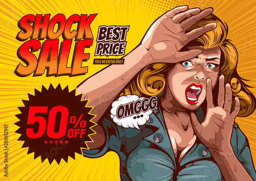 shock sale, The image of a woman lifting her hand, protecting herself and having extreme fear, comic cover template on yellow background Wallpaper Mural