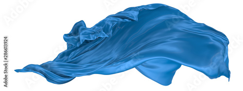 Obraz Wavy fabric on a white background. 3D rendering. - fototapety do salonu