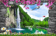 3d Nature Wallpaper And Stone Arch Waterfall