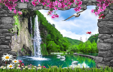 Panel Szklany 3D 3d nature wallpaper and stone arch waterfall