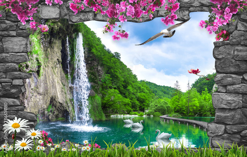 Spoed Foto op Canvas Donkergrijs 3d nature wallpaper and stone arch waterfall