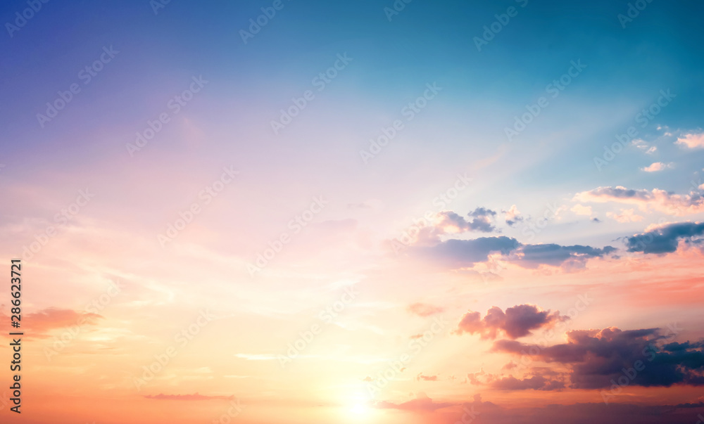 Fototapeta Natural background concept: Sunset blue sky and clouds backgrounds