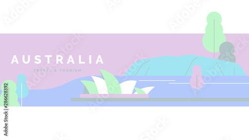 Foto auf AluDibond Flieder Australia travel and tourism poster design, pastel theme