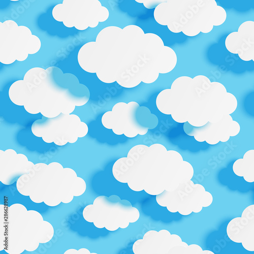 Poster Ciel Seamless pattern with paper clouds on blue sky background for Your design