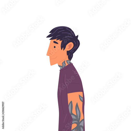 Young Brunette Man with Tattoos Side View Vector Illustration True Style Canvas Print