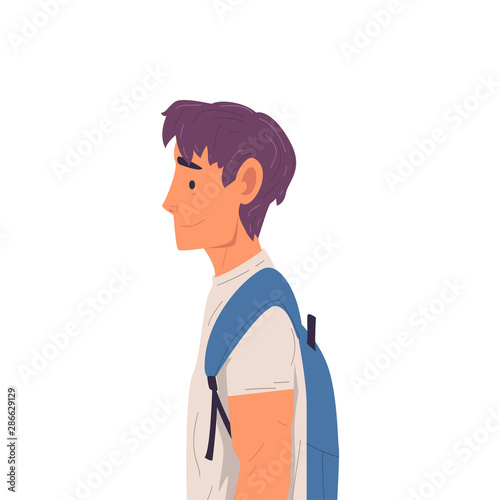 Young Man with Backpack Side View Vector Illustration True Style Wallpaper Mural