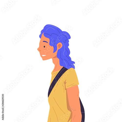 Photo  Girl with Blue Dyed Hair Wearing Yellow T-shirt Side View Vector Illustration Tr