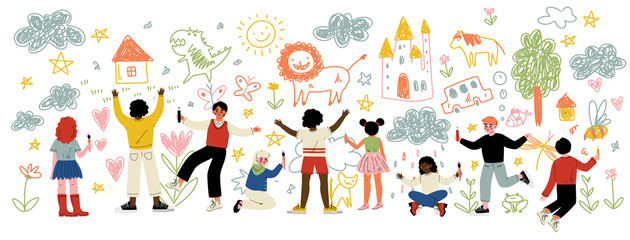 Slatka djeca različitih nacionalnosti Slikanje i crtanje četkama i olovkama na bijelom zidu, vektorska ilustracija