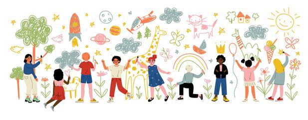 Djeca različitih nacionalnosti Slikanje i crtanje četkama i olovkama na vektorskoj ilustraciji Bijeli zid