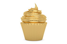 Golden Cupcake Isolated On White Background 3D Illustration.