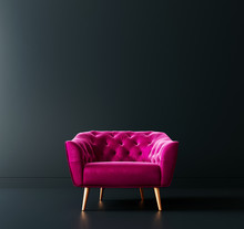Cyclamen Pink Armchair In Blac...