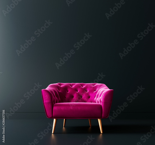 Photo Cyclamen pink armchair in black interior room 3D Rendering