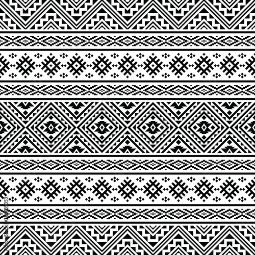 Foto auf Leinwand Boho-Stil Seamless ethnic pattern. Traditional tribal pattern in black and white color