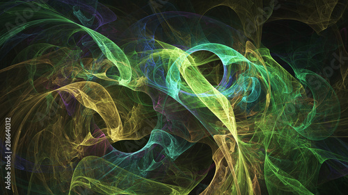 In de dag Fractal waves Abstract transparent green and yellow crystal shapes. Fantasy light background. Digital fractal art. 3d rendering.