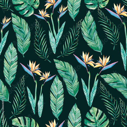 Watercolor Botanical Seamless Pattern Colorful Exotic