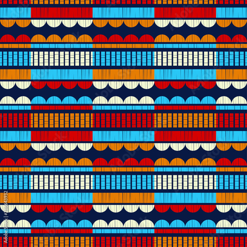 Foto op Aluminium Boho Stijl Ethnic boho seamless pattern. Lace. Embroidery on fabric. Patchwork texture. Weaving. Traditional ornament. Tribal pattern. Folk motif. Can be used for wallpaper, textile, wrapping, web.