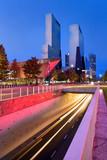 Dynamic cityscape of Rotterdam at twilight