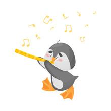 Cartoon Penguin With Flute. Ve...