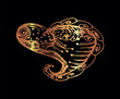 Golden heart for Valentine's day. Hand-drawn vector isolated illustration on black background.