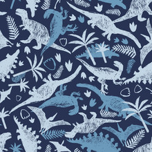 Vector Blue Dinosaur Sketch Repeat Pattern With Chaotic Arrangement. Perfect For Textile, Giftwrap And Wallpaper.