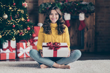 Full Length Body Size Photo Of Cheerful Cute Nice Beautiful Attractive Girl Admiring Her Present While Sitting On Floor Carpet Wearing Jeans Denim