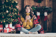 Full Length Body Size Photo Of Cheerful Beautiful Funny Funky Attractive Nice Cute Girl Smelling Her Drink Wearing Jeans Denim Yellow Pullover Enjoying Coffee While Sitting On Floor