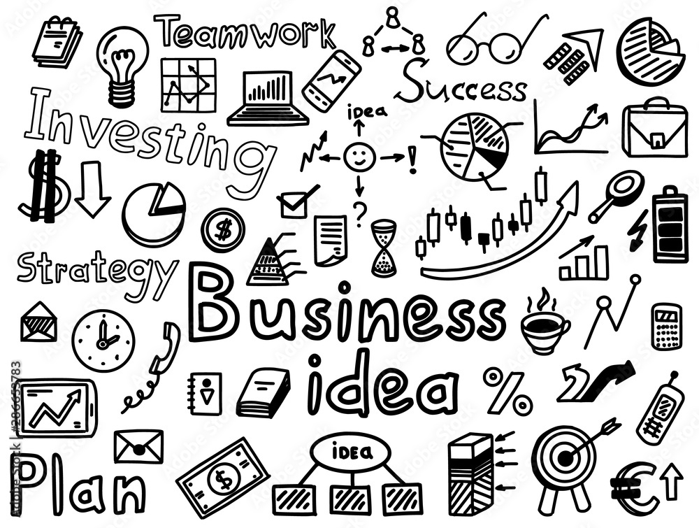 Fototapeta Business idea strategy, investing, hand drawn icon set. Finance symbols and words sketches