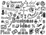 Business idea strategy, investing, hand drawn icon set. Finance symbols and words sketches - 286653783
