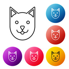 Black line Cat icon isolated on white background. Set icons colorful circle buttons. Vector Illustration
