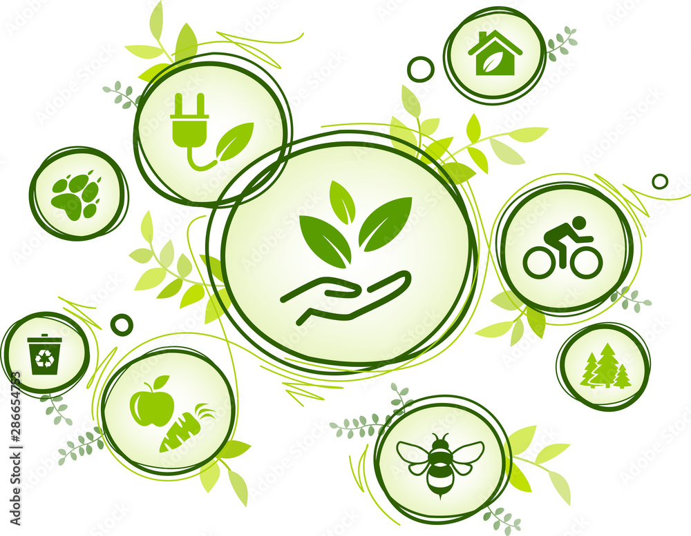 Fototapeta sustainability icon concept: environment, green energy, recycling, conservation of resources – vector illustration