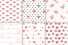 Red Valentine Doodle Heart Seamless Pattern Collection