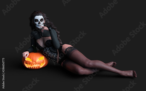Spoed Fotobehang Halloween Halloween pumpkin or Jack-o'-lantern and scary ghost woman with clipping path.