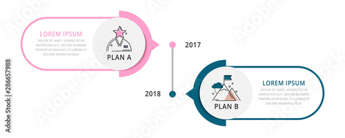 Vector infographic flat template circles for two label, diagram, graph, presentation. Business concept with 2 options. For content, flowchart, step for step, timeline, workflow, marketing