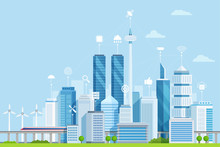Smart City Flat Vector Illustration. Modern Urban Area With Digital Buildings Network. Cartoon Skyscrapers, Towers Sending Telecommunication, Wifi Signals. Futuristic IOT City Using Wind Power Energy