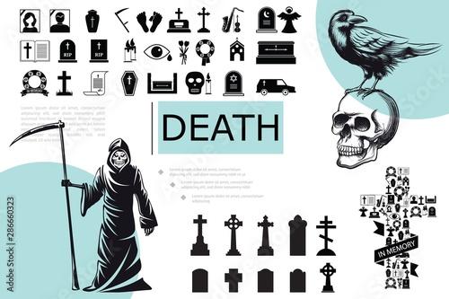 Flat Death Elements Composition Wallpaper Mural