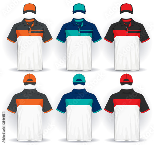 Valokuva Set of uniform template, polo shirts and caps.