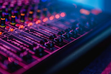 Professional Audio Mixing Console In Concert.