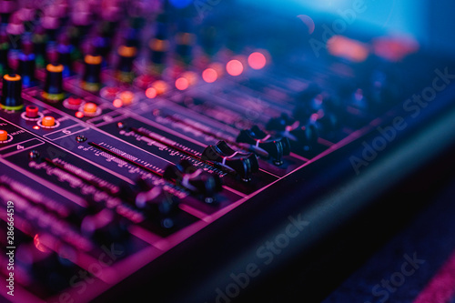 Fototapeta  Professional audio mixing console in concert.