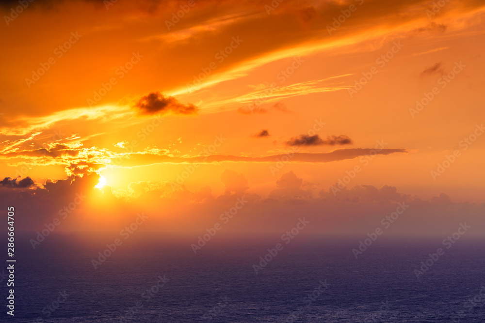Sunset over sea surface