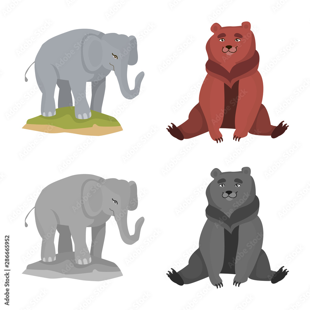 Fototapety, obrazy: Vector design of nature and fun icon. Collection of nature and entertainment vector icon for stock.