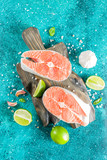 Raw salmon fish steaks with spices - 286669564