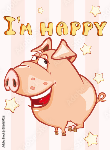 Fotobehang Babykamer Happy Birthday Card Little Pig. Vector Greeting Card. Happy Moment. Congratulation.