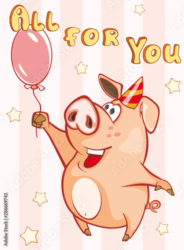 Fotobehang Babykamer Happy Birthday Card Little Pig with with Balloon. Vector Greeting Card. Happy Moment. Congratulation
