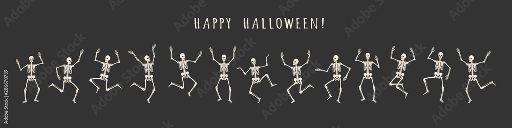 Fototapeta Banner of 13 dancing and jumping skeletons isolated on a black background. Happy Halloween. Vector illustration