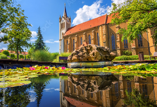 Gothic Our Lady of Hungary church in Keszthely, Hungary Canvas Print