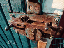 Old Rusty Lock On Wood Door