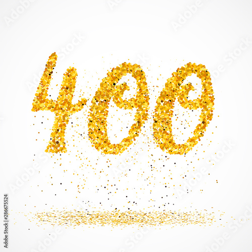 400 made with little glitter gold circles Fototapete