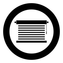 Jalousie Metal Window Jalousie For Office Louvers Icon In Circle Round Black Color Vector Illustration Flat Style Image